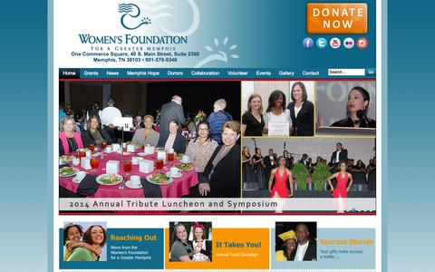 Screenshot of Home Page wfgm.org - Women's Foundation for a Greater Memphis - Women's Foundation For A Greater Memphis - captured Oct. 7, 2014