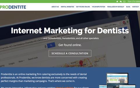 Screenshot of Home Page prodentite.com - Dental SEO & Websites for Dentists | Prodentite - captured Jan. 17, 2016