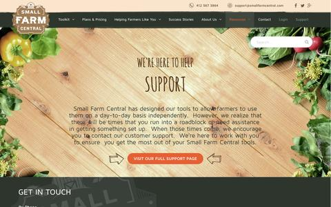 Screenshot of Support Page smallfarmcentral.com - Small Farm Central | Support - captured Jan. 11, 2016