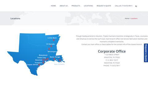 Screenshot of Locations Page triplex-inc.com - Locations - Triplex, Inc. - captured Oct. 20, 2018