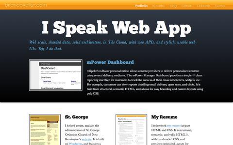 Screenshot of Home Page briancavalier.com - Brian Cavalier's Web Development Portfolio - captured Feb. 8, 2016