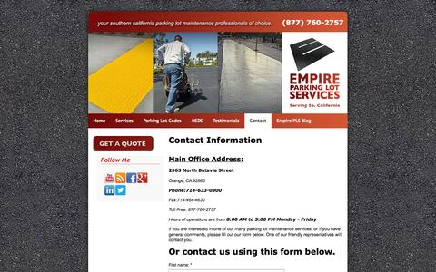 Screenshot of Contact Page empirepls.com - Empire Parking Lot Services Contact Information Page: - captured Oct. 2, 2014