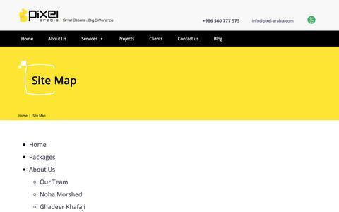Screenshot of Site Map Page pixel-arabia.com - Sitemap to navigate inside Pixel Arabia website faster - captured Sept. 28, 2018