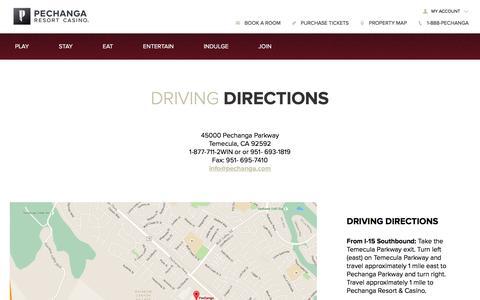 Screenshot of Maps & Directions Page pechanga.com - Driving Directions   Pechanga Resort & Casino - captured March 7, 2017