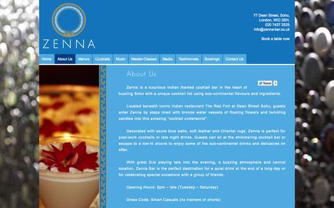 Screenshot of About Page zenna-bar.co.uk - About Us   Zenna - captured Sept. 26, 2014