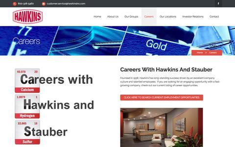 Screenshot of Jobs Page hawkinsinc.com - Careers Hawkins and Stauber   Hawkins Inc. - captured July 17, 2018