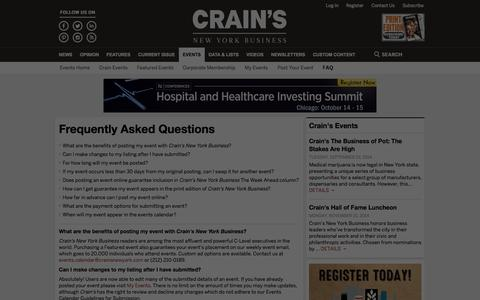 Screenshot of FAQ Page crainsnewyork.com - Frequently Asked Questions - Events Calendar | Crain's New York Business - captured Sept. 18, 2014