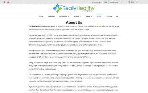 Screenshot of About Page healthy.co.uk - About The Really Healthy Company - captured Oct. 24, 2017