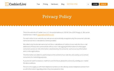 Screenshot of Privacy Page cashierlive.com - Privacy Policy - captured July 19, 2014