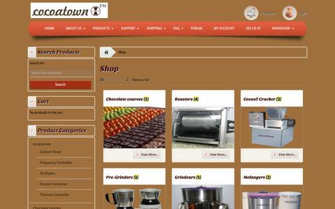 Screenshot of Products Page cocoatown.com - Products Archive - Enabling chocolate makers affordablyEnabling chocolate makers affordably - captured Dec. 10, 2015