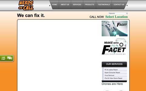 Screenshot of Products Page callrnerds.com - Residential Computer Repair and Services - Nerds on Call - captured Feb. 14, 2016