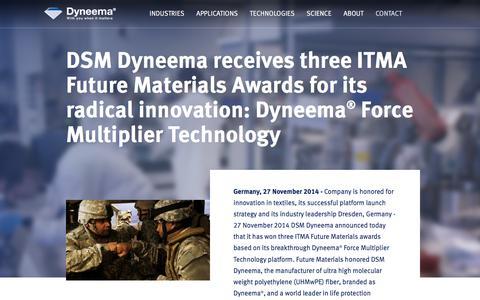 Screenshot of Press Page dsm.com - DSM Dyneema receives three ITMA Future Materials Awards | 2014 | Dyneema® - captured July 14, 2018