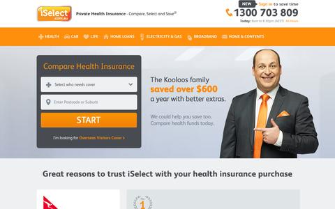 Screenshot of Home Page iselect.com.au - iSelect - Health Insurance | Compare Private Health Insurance - captured Sept. 24, 2014