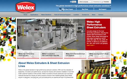 Screenshot of Home Page welex.com - Extruders - Sheet Extrusion Systems for Converters & Thermoformers | Welex - captured Oct. 7, 2014