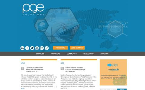 Screenshot of Home Page pge-solutions.com - PGE Solutions| Cloud Technology Business Advisory - captured Sept. 27, 2014