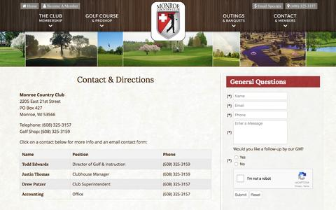 Screenshot of Contact Page Maps & Directions Page monroecountryclub.com - Monroe Country Club | Private Golf Course | Monroe, WI - Contact & Directions - captured June 13, 2016