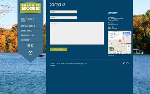 Screenshot of Contact Page bringithomenwa.com - CONTACT US – Bring it Home Northwest Arkansas - captured March 31, 2016