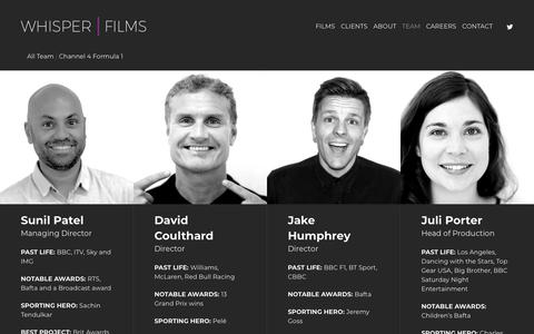 Screenshot of Team Page whisperfilms.co.uk - Team - Whisper Films - captured Sept. 21, 2018