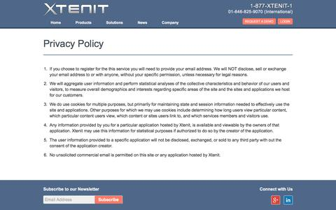 Screenshot of Privacy Page xtenit.com - Privacy Policy | Xtenit - One Platform, One Solution - captured Jan. 10, 2016