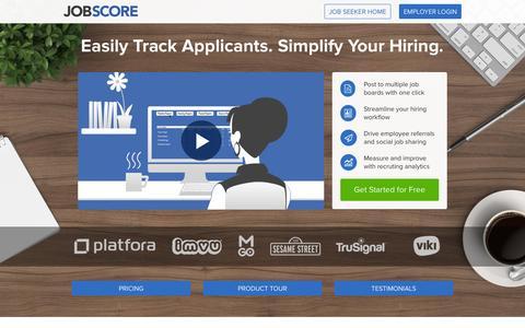 Screenshot of Home Page jobscore.com - JobScore - captured Sept. 15, 2015