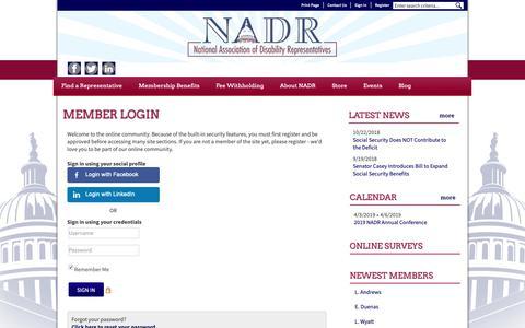 Screenshot of Login Page nadr.org - National Association of Disability Representatives (NADR) - captured Nov. 7, 2018