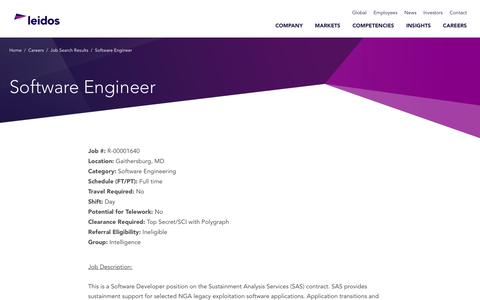 Screenshot of Jobs Page leidos.com - Software Engineer in Gaithersburg, MD - Leidos - captured Jan. 29, 2019
