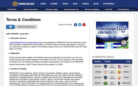 Screenshot of Terms Page concacaf.com - Terms & Conditions - captured Sept. 19, 2014