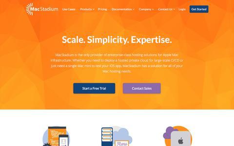 Screenshot of Home Page macstadium.com - MacStadium   Apple Mac Hosting & Private Cloud Solutions - captured July 26, 2018