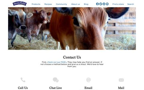 Screenshot of Contact Page stonyfield.com - Contact Us | Stonyfield - captured Oct. 2, 2015