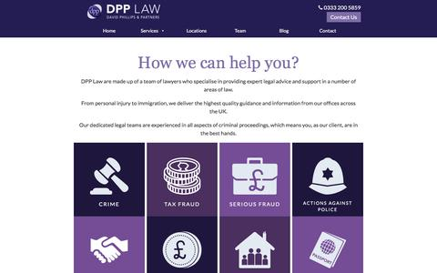 Screenshot of Services Page dpp-law.com - Law Services - Find a Solicitor - DPP Law - captured Oct. 12, 2017