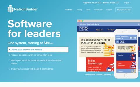 Screenshot of Home Page nationbuilder.com - NationBuilder: Software for leaders - captured Feb. 4, 2017