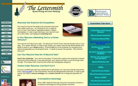 Screenshot of Home Page thelettersmith.com - Lettersmith Resume Service|Certified Professional Resume  Writer|Guaranteed Interviews|Troy MI - captured Oct. 8, 2014