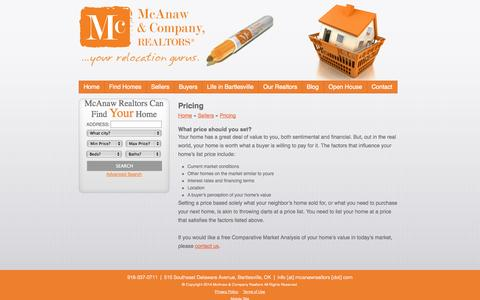 Screenshot of Pricing Page mcanawrealtors.com - McAnaw & Company Realtors - Bartlesville, Oklahoma Real Estate | Pricing - captured Oct. 27, 2014