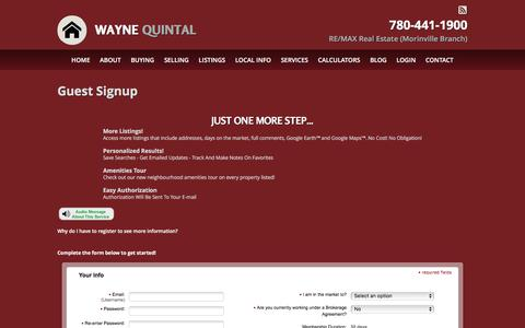 Screenshot of Signup Page waynequintal.ca - Guest Signup: Wayne Quintal - captured March 17, 2016