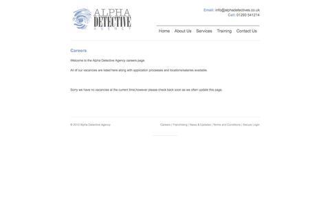 Screenshot of Jobs Page alphadetectives.co.uk - Alpha Detective Agency    Careers - captured Oct. 4, 2014