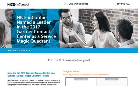 Screenshot of Landing Page niceincontact.com - NICE inContact | Gartner Magic Quadrant 2017 - captured April 1, 2018