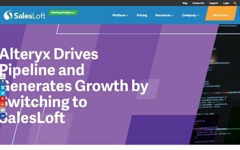 Screenshot of Case Studies Page salesloft.com - Alteryx Drives Pipeline and Generates Growth - SalesLoft - captured Sept. 19, 2018