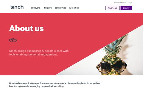 Screenshot of About Page sinch.com - About us | Sinch | Enriching Engagement - captured Feb. 13, 2019