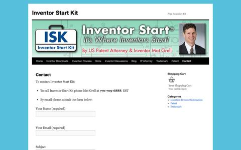 Screenshot of Contact Page inventorstartkit.com - Contact | Inventor Start Kit - captured Jan. 9, 2016