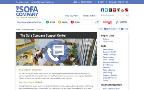 Screenshot of Support Page thesofaco.com - Customer Support & Service Center | The Sofa Company - captured Jan. 15, 2016