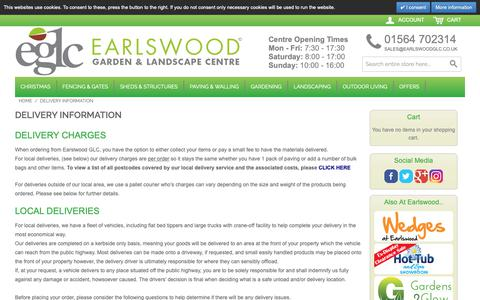 Screenshot of Support Page earlswoodglc.co.uk - Delivery / Shipping Information - Solihull, Tel. 01564 702314 - captured Oct. 21, 2018