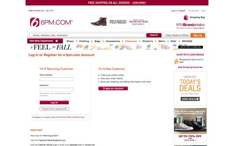 Screenshot of Login Page 6pm.com - Log In or Register for a 6pm.com Account - captured Sept. 19, 2014