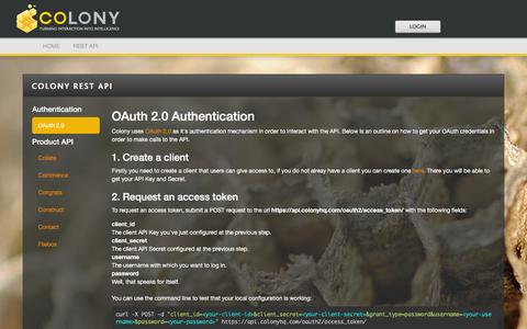Screenshot of Developers Page colonyhq.com - Colony | Colony REST API - captured Jan. 31, 2016