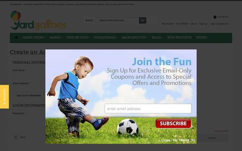 Screenshot of Signup Page yardgames.com.au - Create New Customer Account - captured May 28, 2017