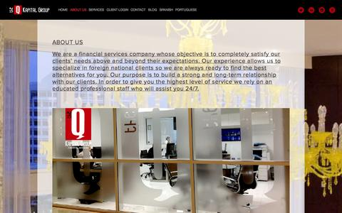 Screenshot of About Page theqkapitalgroup.com - ABOUT US — The Q Kapital Group - captured Oct. 6, 2014