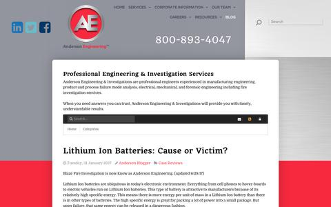 Screenshot of Press Page aenpi.com - Lithium Ion Batteries: Cause or Victim? - captured Oct. 8, 2017