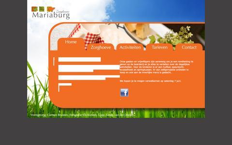 Screenshot of Home Page zorghoevemariaburg.nl - - Zorghoeve Mariaburg | Bijzonder leven. - captured Sept. 30, 2014