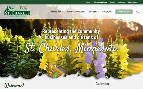 Screenshot of Home Page stcharlesmn.org - City of St. Charles Minnesota - Gateway to the Whitewater Valley - captured Sept. 28, 2018