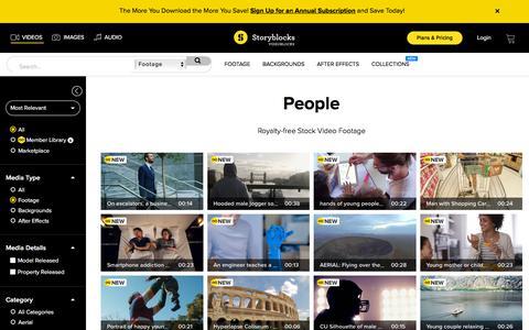 Screenshot of Team Page videoblocks.com - Royalty-Free HD People Stock Footage - VideoBlocks - captured July 10, 2018