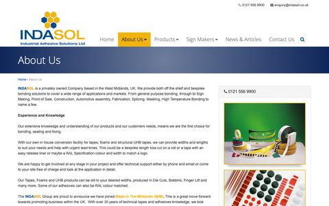 Screenshot of About Page indasol.co.uk - About Us | Industrial Adhesive Solutions Ltd | Indasol - captured Oct. 11, 2018